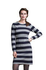 Boob Design Knitted Organic Nursing Dress (Striped Grey  & Ink Blue) by Boob Design