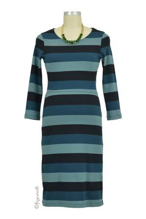 Boob Design Amy 3/4 Sleeve Organic Nursing Dress (Multi-Stripe Green) by Boob Design