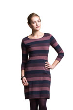 Boob Design Amy 3/4 Sleeve Organic Nursing Dress (Multi-Stripe Cassis) by Boob Design