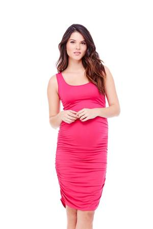 Ingrid & Isabel Shirred Tank Maternity Dress (Berry) by Ingrid & Isabel