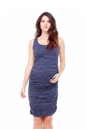 Ingrid & Isabel Marble Shirred Tank Maternity Dress (Navy Marble) by Ingrid & Isabel