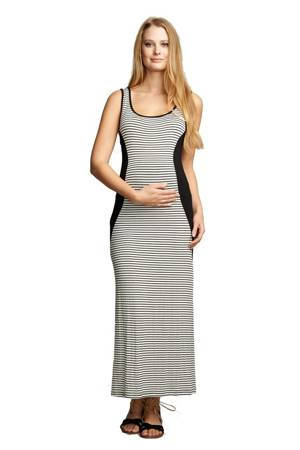 Sage Side Inset Maxi Maternity Dress (Black/ White Stripes) by urbanMA