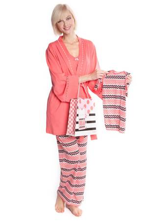 Lynette 4-Piece Nursing PJ Set with Baby Outfit and Gift Box (Coral Zig Zag) by Olian