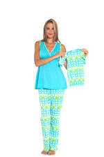 Rachel 4-Piece Nursing PJ Set with Baby Outfit and Gift Box (Blue) by Olian