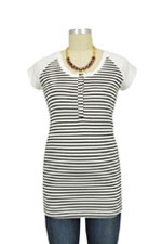 Raven Cap Sleeve Raglan Nursing Top (Black & White Stripes) by LAB40