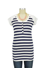 Raven Cap Sleeve Raglan Nursing Top (Navy & White Stripes) by LAB40
