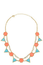 Turquoise & Orange Triangle Necklace (Turquoise & Orange) by Jewelry Accessories