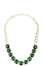 Green Jeweled Necklace (Green) by Jewelry Accessories