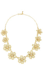 White Floral Necklace (Gold w/White Accent Floral) by Jewelry Accessories