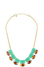 Green & Brown Jeweled Necklace (Green & Brown) by Jewelry Accessories