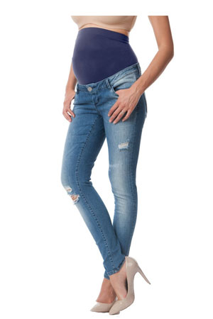 Seraphine Gerie - Over-Bump Ripped Skinny Maternity Jeans (Light Vintage) by Seraphine