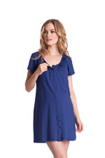 Seraphine Gemma Button Down Nursing Nightie (Midnight Blue) by Seraphine