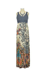 Abigail Sleeveless Nursing Maxi Dress (Grey with Paisley) by Japanese Weekend