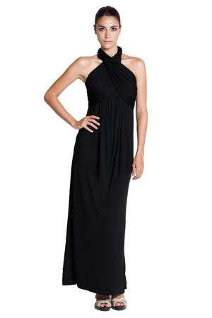 Monroe Halter Nursing Maxi Dress (Black) by Dote