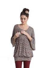 Justine Cocoon Maternity & Nursing Tunic/Dress (Paleo Print) by MEV