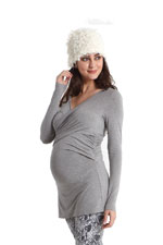 Kendra Cross-Over Maternity Top with Mesh Back (Heather Grey) by MEV