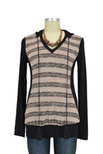 Sidone Nursing Hoodie Sweater (Beige & Grey Stripes) by Olian
