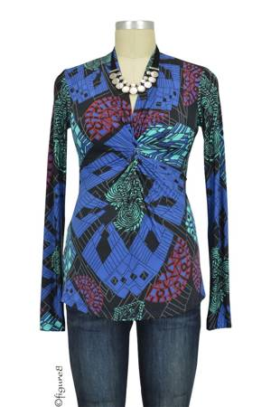 Dharma Twist Front Maternity Top (Groovy Print) by Olian