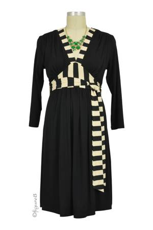 Emma Stripe Accent Nursing Dress (Black with Stripes) by Olian