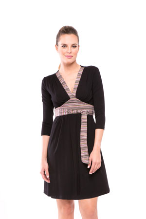 Emma Stripe Accent Nursing Dress (Multi Color Stripes) by Olian