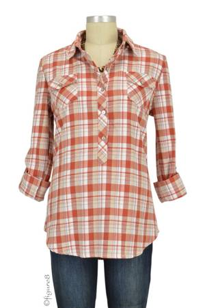Caden Plaid Maternity Shirt (Rust Plaid) by Everly Grey