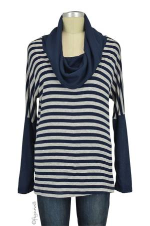 Sarah Cowl Neck Colorblock Maternity Top (Navy) by Everly Grey