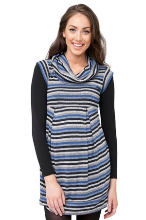Angeline Striped Maternity Tunic-Dress (Blue Stripes) by Ripe Maternity