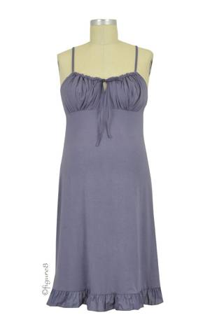 Delicious Maternity & Breastfeeding Nightdress (Slate Blue) by Cache Coeur Lingerie