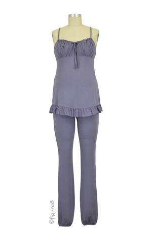 Delicious Maternity & Breastfeeding Pajama Set (Slate Blue) by Cache Coeur Lingerie