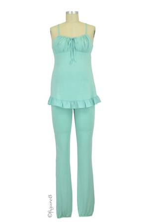 Delicious Maternity & Breastfeeding Pajama Set (Celadon) by Cache Coeur Lingerie
