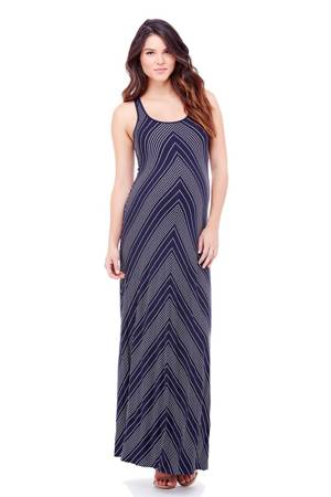 Ingrid & Isabel Stripe Racerback Maxi Maternity Dress (Chevron) by Ingrid & Isabel
