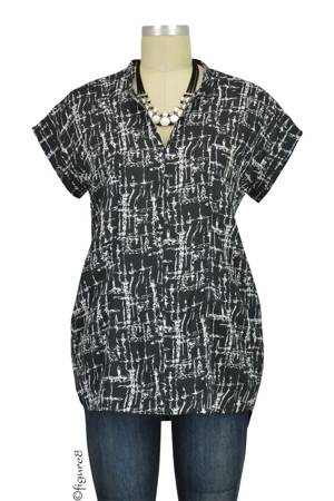 Sarah Woven Nursing Blouse (Black Crosshatch) by Loyal Hana