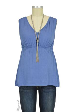 Alana Scoop to V-Neck Reversible Nursing Tank (Blue) by Dote