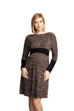 Naomi Boatneck Knitted Nursing Dress (Blush Space Dye & Black) by Maternal America