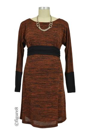 Naomi Boatneck Knitted Nursing Dress (Rust) by Maternal America