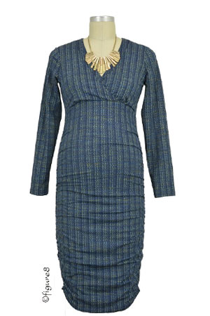 Sola Ruched Long Sleeve Nursing Dress (Blue Ripples) by Annee Matthew