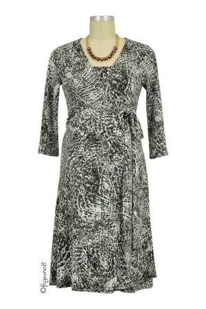 Animal Print Wrap Nursing Dress (Cosmic Grey) by Annee Matthew