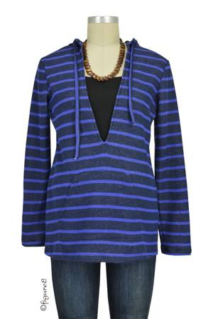 Evie Striped Terry Nursing Hoodie (Blue Stripes) by Annee Matthew