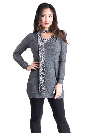 Skylar Knitted Nursing Sweater with Scarf (Marble Taupe) by Annee Matthew