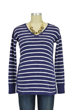 Seraphine Poppy Stripe Cotton Cashmere Nursing Sweater (Navy/White) by Seraphine