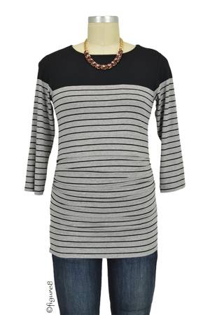 Seraphine Harper Striped Nursing Top (Grey/Black) by Seraphine