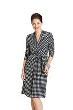 Theory Wrapfront Velvety Houndstooth Nursing Dress by Milky Way (Black & White) by Milky Way