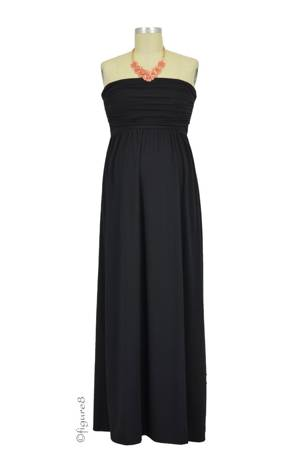 The MW Ruched Tube Maxi Nursing Dress (Black) by Milky Way