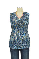 Mel Sleeveless Twisty Nursing Top (Blue Zigzag) by JWSF