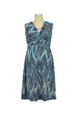 Mel Sleeveless Twisty Nursing Dress (Blue Zigzag) by JWSF