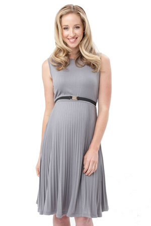 Vida Knife Pleat Maternity Dress (Silver) by Ripe Maternity