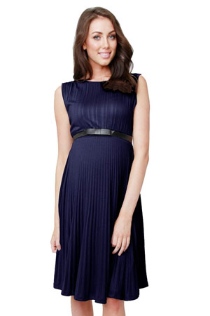 Vida Knife Pleat Maternity Dress (Blue) by Ripe Maternity