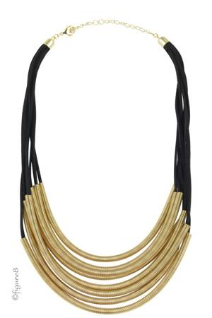 Black & Gold Slinky Necklace (Black & Gold) by Jewelry Accessories
