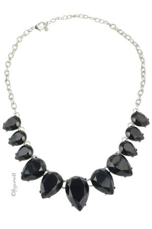 Black Teardrop Necklace (Black) by Jewelry Accessories
