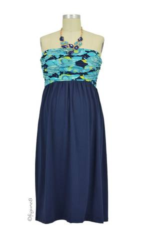 The MW Ruched Tube Colorblock Nursing Dress (Navy with Painted Floral) by Milky Way